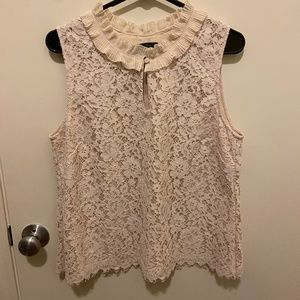 JCrew Sleeveless Keyhole Floral Lace Top